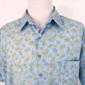 Tori Richard 2XL Hawaiian Camp Shirt Leaves Print